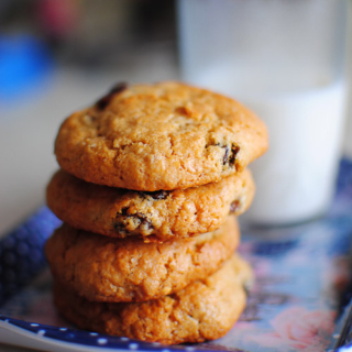 Soft and Chewy Rum & Raisins Chocolate Chip Oatmeal Cookies