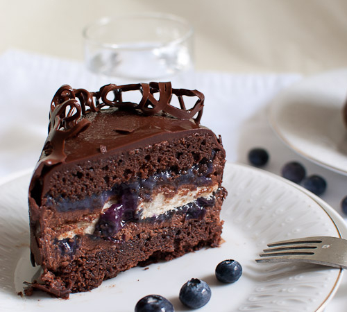 Chocolate, Mousse, Meringue and Blueberry Curd Layered Cake