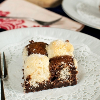 Coconut Checkerboard Chocolate Brownies