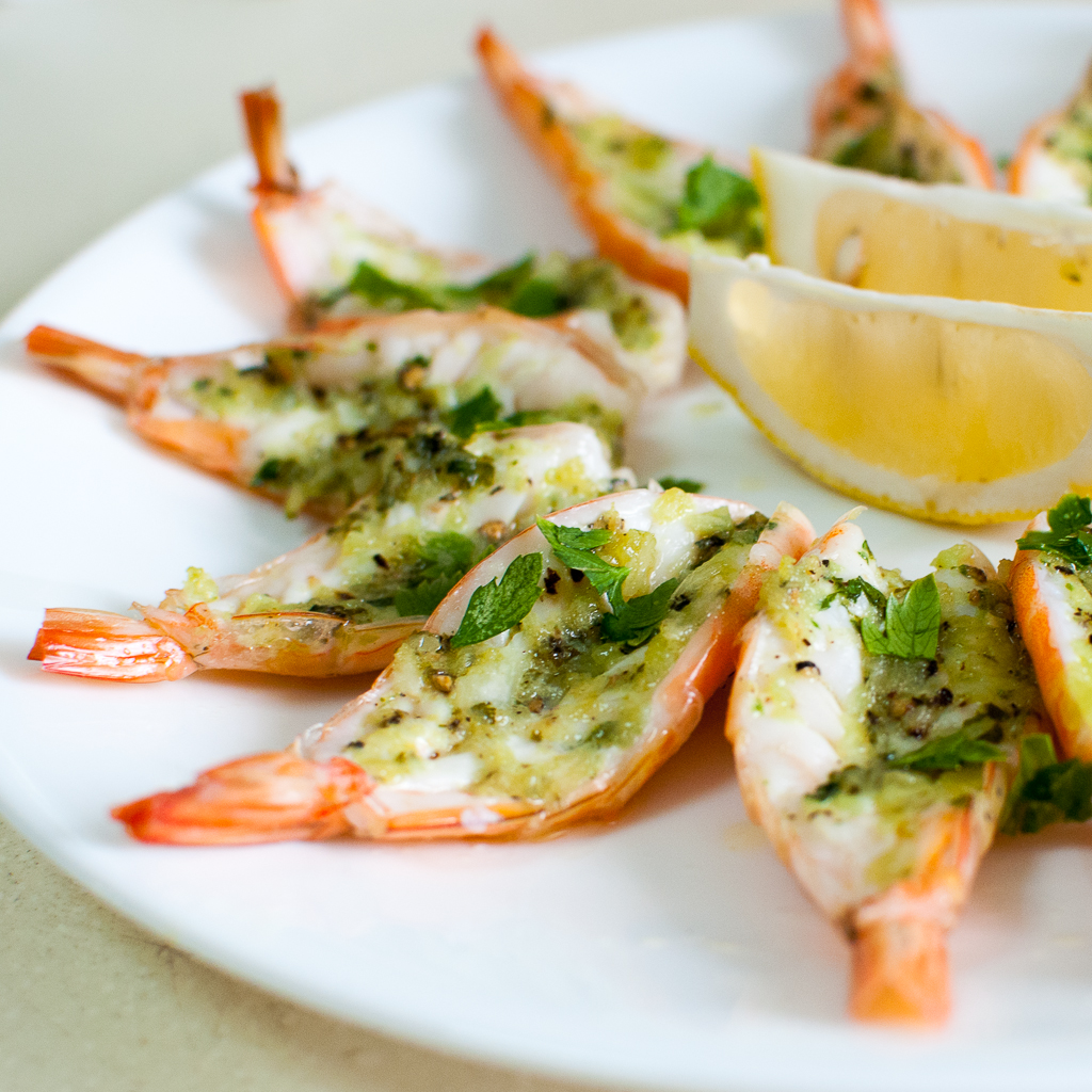 Roasted Butterflied Prawns In Garlic Parsley Butter Delia
