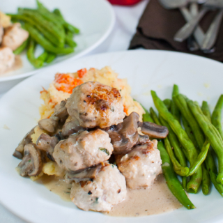 Creamy Baked Chicken Meatballs and Mushrooms