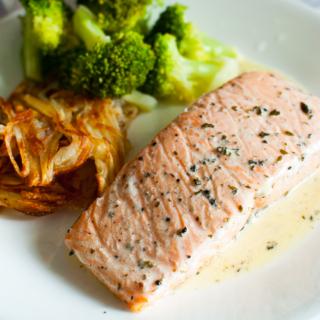 Salmon with White Wine Cream Sauce