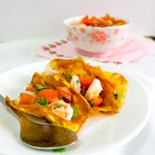 Potato Tuiles with Prawn Salsa