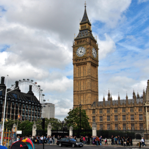 London Eye, Clock tower, Palace of Westminster (Left to right)