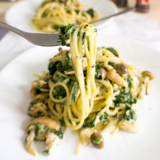 Creamy Spinach and Mushrooms Pasta