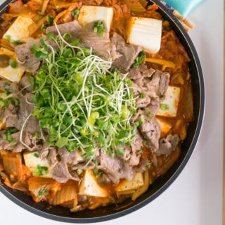 Luxurious Budae-Kimchi Jjigae (Army-Kimchi Stew)