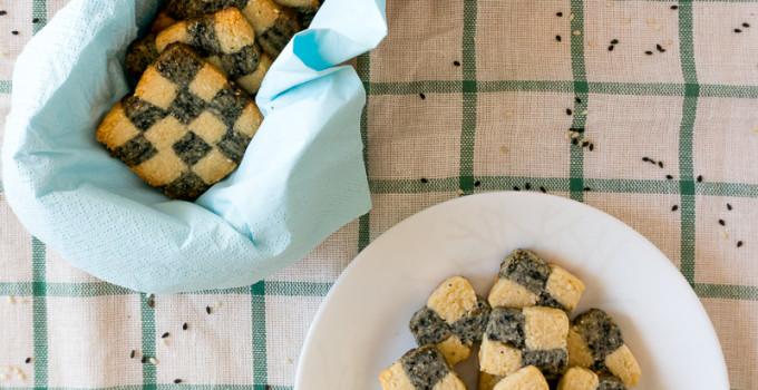 Black & White Sesame Chequered Cookies