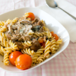 Umami Pasta (cherry tomatoes, mushrooms, parmesan, basil, tuna)