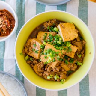 My Mom's Quick Braised Tau Kwa (Extra Firm Tofu) with Minced Pork