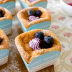 Vanilla Hokkaido Chiffon Cupcakes with Blueberry Cream