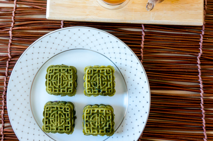Matcha Snow Skin Mooncakes with Red Bean Filling