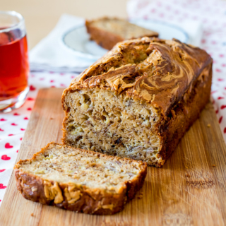No-Mixer Banana Loaf / Bread / Cake with Peanut Butter Swirl